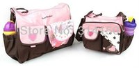 Wholesale fashion mummy mum mother bag baby products nappy bag pieces suit pink and blue embroider design set