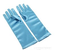 Wholesale 2014 costume princess kids gloves for girls frozen elsa gloves long Blue Satin Gloves frozen cosplay children long blue gloves