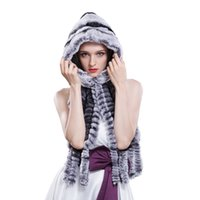 Wholesale Winter Rex rabbit fur shawl hat for women Full rabbit bomber hat with long scarf brand new casual Russian snow caps RBH1421