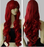 Wholesale High Temperature Wire Fashion sexy long wavy curly with bangs cosplay party full wig Weaving Wig Cap