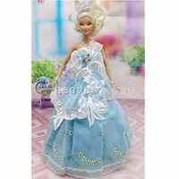 Wholesale mix color Handmade Toy inch kids baby doll Clothes for girls flower leaves embroidery wedding dress best gift for my baby