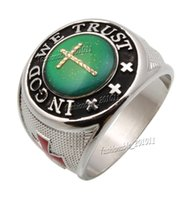 mood rings - Oversize Cross Color Finger Changing Silver Plated MAN Mood quot IN GOD WE TRUST quot MANS Rings FREE
