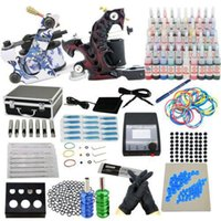 Wholesale Prrofessional Complete Starter Tattoo kit machines guns inks power supply Beginner Set Tattoos Body Art Tattoo Guns Kits v v