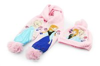 Wholesale set New Frozen Finger Puppet Baby scarf and hat frozen scarf