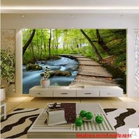 asia homes - New can customized large D mural art wallpaper home decor Personality visual natural scenery wall stickers bedroom TV wall forest trail