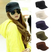 Wholesale New Fashion Summer Adjustable Classic Army Plain Vintage Hat Cadet Military Cap High quality