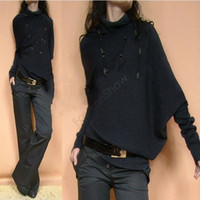 Wholesale Cheapest Women Knitted Loose Pullovers Autumn Winter Irregular Turtleneck Batwing Long Sleeve Sweater Colors SV6 SV006391