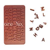 al por mayor letras de molde de la jalea-Bandeja del molde de silicona formación de hielo del chocolate letra del alfabeto de pasta de azúcar del mollete de la torta del molde de la jalea Decotating