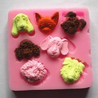 1 Pz Carino Cani torta del silicone del fondente della muffa muffe della torta del fondente di cioccolato? Caramella DIY Stampi