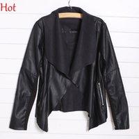 Wholesale Autumn Women Jacket Pu Leather Punk Coat New Brand Plus Size Black Brown Leather Cardigan Outwear European Style Motorcycle Jacket SV007749