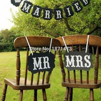wooden chair - Mr And Mrs Wedding Sign Black Vintage Wooden Signs Chair Backs Party Photography Props