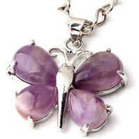 agate butterfly - Charm Amethyst Red Agate Malay Jade etc Natural Stone Butterfly Bead Pendant Accessories Silver Plated Butterfly Fashion Jewelry