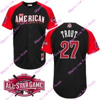 authentic american jersey - 2015 American League All Star Mike Trout black Baseball Jerseys All Star Authentic Stitched Jersey Top quality Accept Mix Order