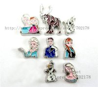 Wholesale wholesales10pcs mix cartoon characters Olaf Anna Elsa princessFC492 floating locket charms fit for living memory floating locket
