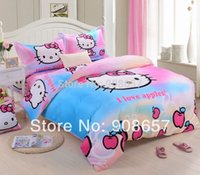 apple comforter - deep sky blue hot pink Hello Kitty apple print comforter set single twin full queen king size bed cover girls bedding bedclothes