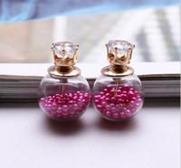 Wholesale NEW Glass Bottle Stud Earrings Summer Style Design Transparent Crystal Earrings Double Side Glass Ball Crown Earrings for women