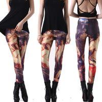 Cheap Sky Digital Printing Eden Naked Women Leggings Nine Minutes Of Pants Pencil Pants