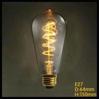 Wholesale 220 v ST64 Vintage Spiral W E27 Incandescent Edison Light Bulb coffee shop bars tungsten filament retro bulbs