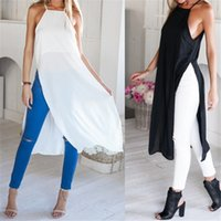 Wholesale Ladies Casual Side High Slits Tee Long Tops Maxi Dress T shirt Split Tops