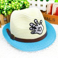 sunscreen - HOT new children Straw hat fashion Metal buckle belt hat circumference toddler homburg outdoors sunscreen kids sun hat age ab1264