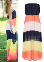 strapless maxi dress - Summer Boho Stripe Strapless Women Chiffon Maxi Beach Dress
