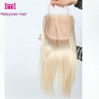 Cheap Malaysian blonde lace closure,color 613 6A virgin hair straight,knots bleached,no shedding,no tangles, free shipping