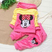 Cheap Spring autumn kids girl hoodies +pants set 2 pieces,girls long sleeve clothes suit velvet clothing 4s l