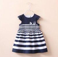 blue jean skirts - New Children Clothing Bowknot Striped Dress Suit New Girls Kids Cap Sleeve Jean Skirt Denim Dresses All Match Tops K6871