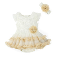 Wholesale New Girls lace Tutu Dresses White sleeveless Rompers Headband Baby Summer Clothing setsNewborn Jumpsuit