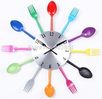 antique kitchen utensils - Funlife cm in Cutlery Design DIY Wall Clock Kitchen Utensils Spoon Fork Ladle Wall Clock multicolores for Decoration wc1023