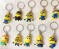 Wholesale Cartoons Cars Kids - Epack free 20pcs Movie Cartoon Key Chain Despicable Me 3D Eye Small Minions Figure Kid toy KeyChain gift yellow people Key Ring my