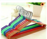 Wholesale 5pcs Non Slip Metal Shirt Trouser Hook Hangers Red Blue Yellow Purple Hangers For Clothes