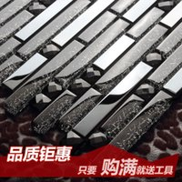 Wholesale Jasmine modern black stainless steel entrance glass mosaic tiling puzzle waistline living room backdrop