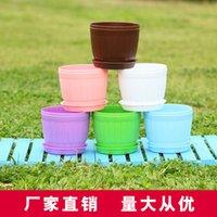 Wholesale 80 mm Imitated barrel plastic flower POTS Circular creative succulent plants flower pot with pot bottom bracket six colors