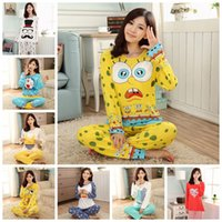 100% cotton pajamas - M L XL Multi Colors Cartoon Pajama Sets O Neck Long Sleeve Women Sleepwear autumn winter Cotton Pajamas Sleepwear