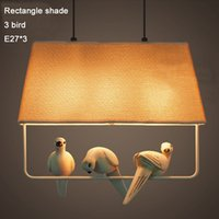 application fluorescent lamp - 1 resin birds pigeons doves round square rectangle flax shade LED pendant light lamp Parlour Diner Bedroom Hotel Cafe bar application