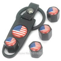 american tire wheels - GPS Black Wheel Tyre Tire Air Valve Stem Caps Keychain Flag of US American New