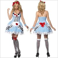 Wholesale Women Sexy Blue Alice Wonderland Costume Halloween Cosplay Fancy Dress princess dress cosplay Christmas gift Plus Size