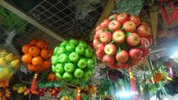 Wholesale Green red Artificial apple ball Fruit Simulation apple ball home garden wedding party Decoration