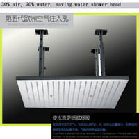 Wholesale Air Injection high quality brushed stainless steel square quot rainfall shower head bathroom shower water saving