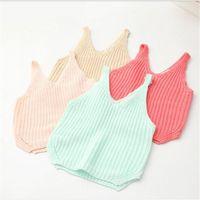 Wholesale 2016 Spring Baby Girls Knit Vests Kids Girl Candy Color Wool Blends Waistcoat Babies Princess V neck Tops Children s Clothing
