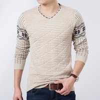 men knitted sweaters - 2015 New Arrival Autumn Slim Round Neck Sweater Men Stylish Trendy Men Rhombus Printing Pullover Sweater For Men Size M XXL