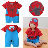 bebe men - Baby Spider Man Rompers Hooded Short Sleeve Spiderman Clothing For Baby Boys Summer Baby Boy Clothes Roupa De Bebe