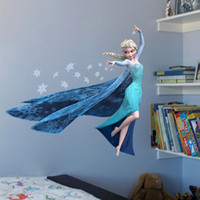 3D Sticker style house stickers - 2016 New FROZEN ELSA ANNA wall stickers for kids rooms children s house decorative wall decor decals D art wallpaper home decoration