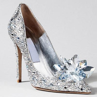 Wholesale 2017 Cinderella Heroine Lily James High Heels Silver Crystal Beaded Formal Occasion High Heel Shoes Rhinestone Ponited Toe Wedding Shoes