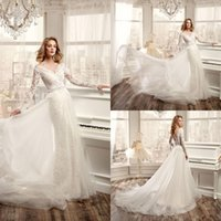 Wholesale Nicole Spose Designer Wedding Dresses Long Sleeve Sexy V Neck Backless Lace Dresses With Tulle Train For Beach