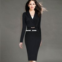 Wholesale VfEmage Womens Autumn Winter Fashion Long Sleeve Lapel Faux Wrapped V Neck Button Wear to Work Business Office Sheath Dress