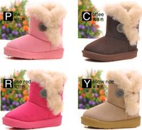 kids boots - 2014 Winter Snow Boots Thickening Super Button Thermal Slip resistant Kids Warm Boot Flock Rose Coffee Pink Beige