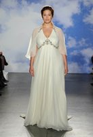 beach glass beads - 2016 jenny packham bridal gowns plus size wedding dresses with cape and glass crystals beaded in soulders and waist V neck wedding gowns