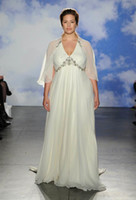A-Line beach glass beads - plus size wedding dresses jenny packham bridal gowns chiffon with cape and glass crystals beaded in soulders and waist wedding gowns